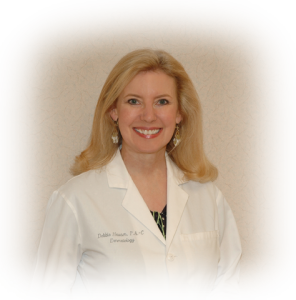 Debbie Adams Hauser is a native of Yadkin County, NC, and has practiced dermatology in Winston-Salem since 1994. She graduated from the Wake Forest University Physician Assistant program and then obtained her Masters of Health Science degree.