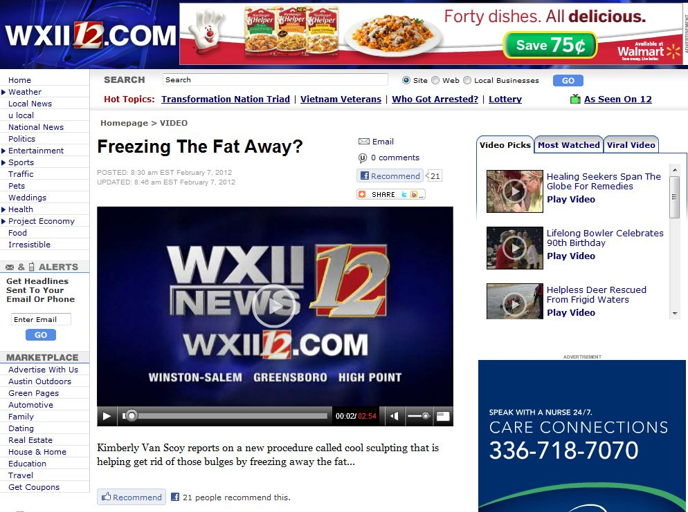 Click to view the Winston-Salem Dermatology Coolsculpting® procedure featured on WXII News!