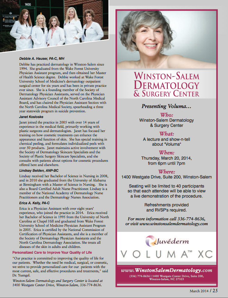 Winston Salem Dermatology & Surgery Center featured in Forsyth Woman Magazine